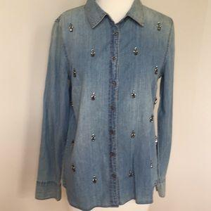 Denim/chambray embellished shirt
